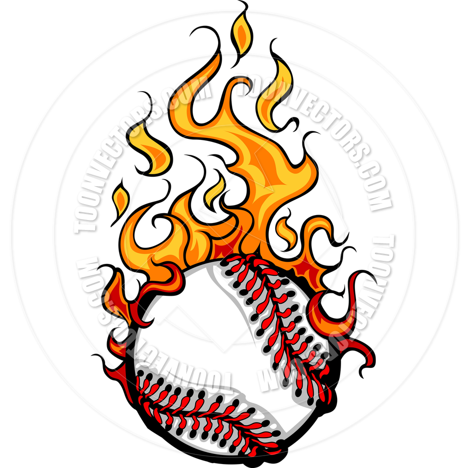 940x940 Flaming baseball clipart