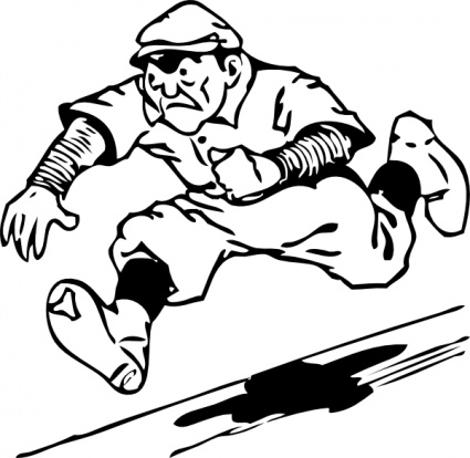 425x414 Baseball Running Clipart