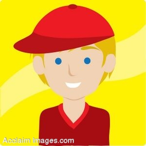 300x299 Clip Art Icon Of A Blond Boy Wearing A Baseball Cap