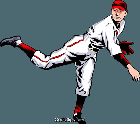 480x425 Baseball Player Pitching The Ball Royalty Free Vector Clip Art