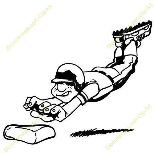 500x500 Baseball Player Sliding Clip Art