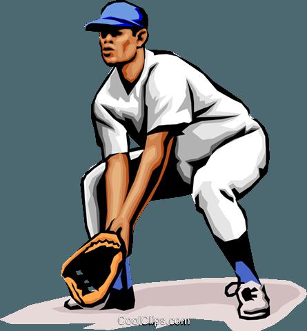 445x480 Baseball Player Fielding The Ball Royalty Free Vector Clip Art