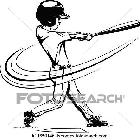 450x447 Clip Art Of Boy Batting In A Baseball Game K11650146