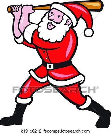 390x470 Clipart Of Santa Baseball Player Batting Isolated Cartoon