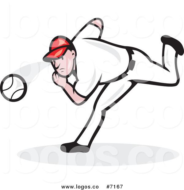 600x620 Royalty Free Clip Art Vector Baseball Player Pitcher Throwing Logo