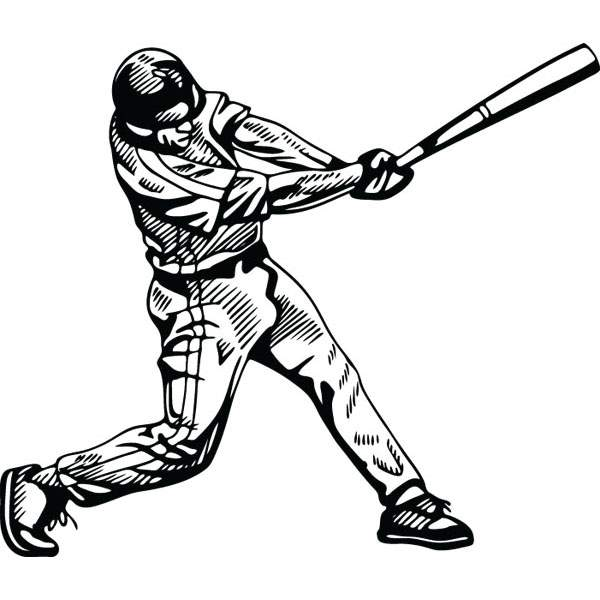 600x600 Baseball Player Hitting Ball Bat Graphic For Custom Gifts