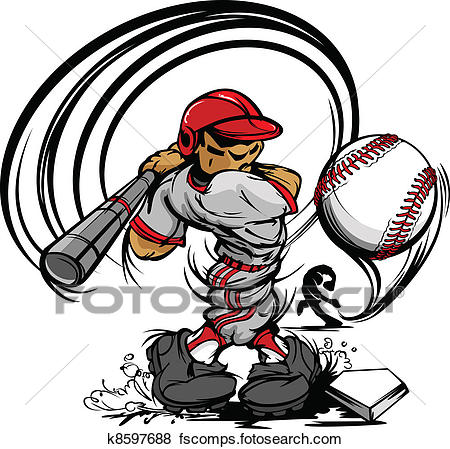 450x449 Clip Art Of Baseball Player Cartoon Swinging Ba K8597688