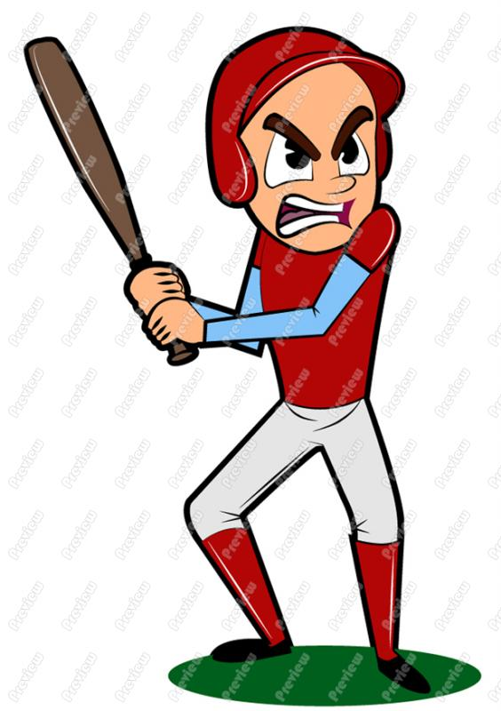 564x800 Mad Baseball Player Clip Art