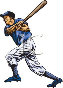 251x350 Royalty Free Illustration Of A Baseball Player Swinging His Bat