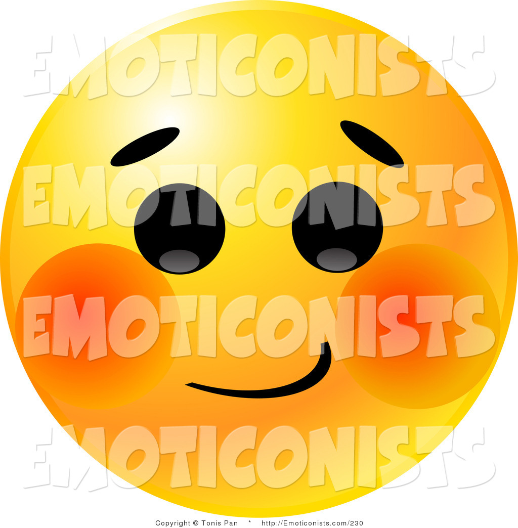 1024x1044 Clip Art Of A Yellow Emoticon Smiley Face With A Bashful