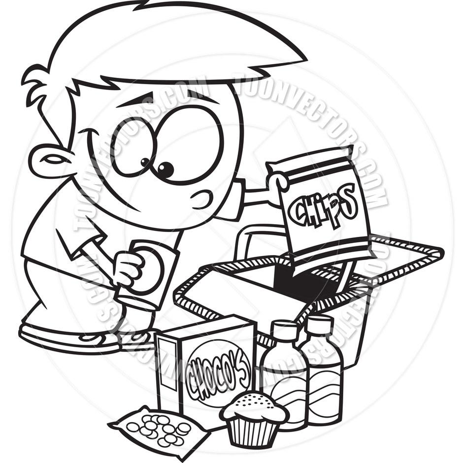 940x940 Cartoon Boy Packing A Picnic Basket (Black And White Line Art) By