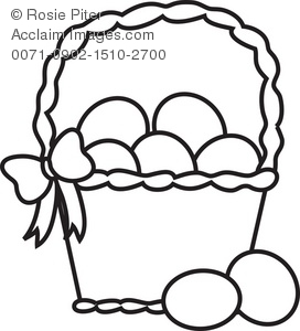 272x300 Coloring Page Of A Basket Of Easter Eggs Royalty Free Clip Art Picture