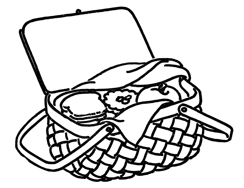 1500x1152 Picnic Basket Clip Art Black And White Free 5