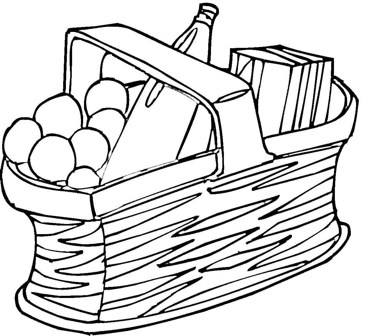 1200x1095 Picnic Basket Clipart Black And White Clipartfest 2
