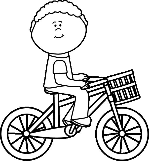 600x645 Black Amp White Boy Riding A Bicycle With A Basket Clip Art