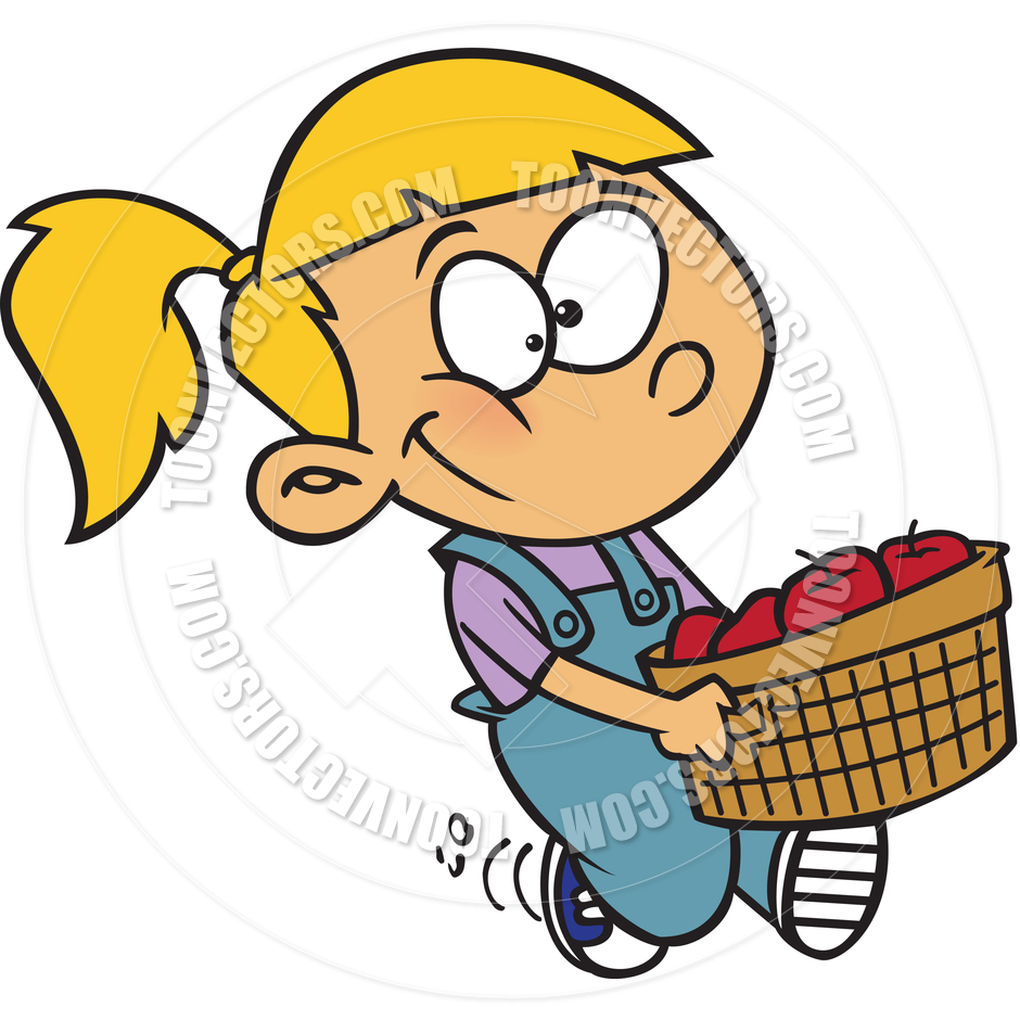 940x940 Cartoon Girl Carrying Basket Of Apples By Ron Leishman Toon