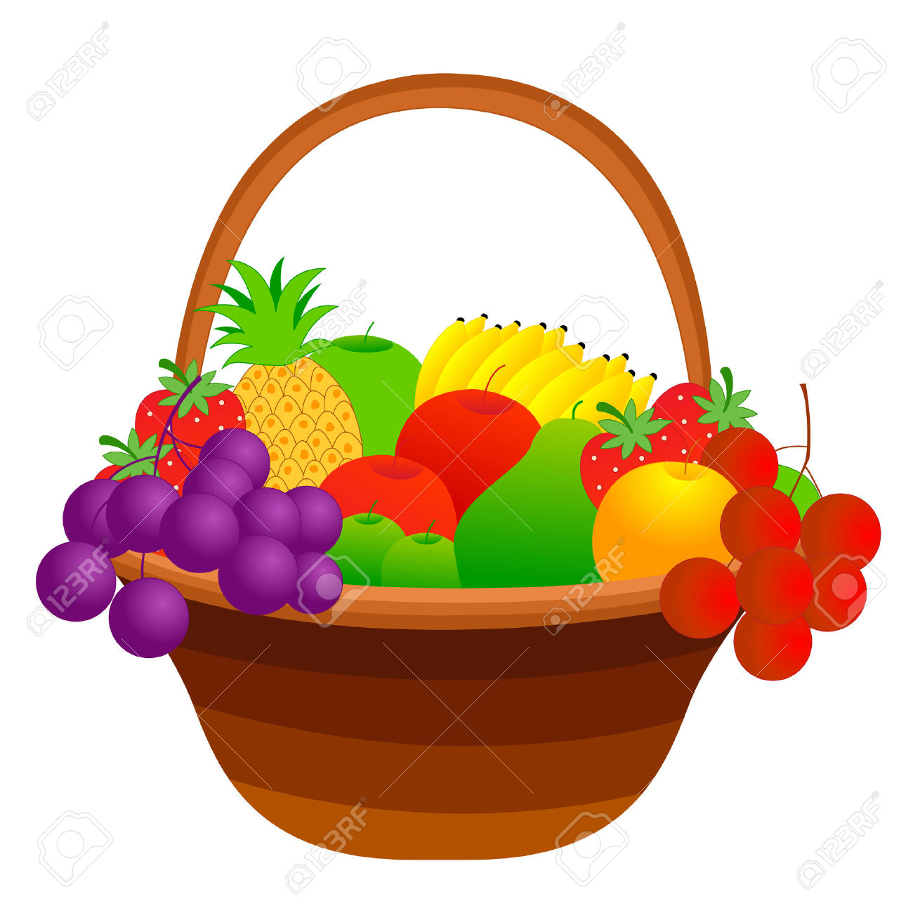 1300x1300 Clipart Apples And Peaches Fruit Basket