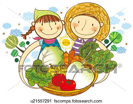 450x353 Clipart Of Boy And Girl Holding The Basket Of Vegetable U21557291