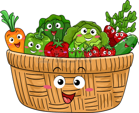 450x364 Colorful Illustration Of A Basket Filled With Freshly Harvested
