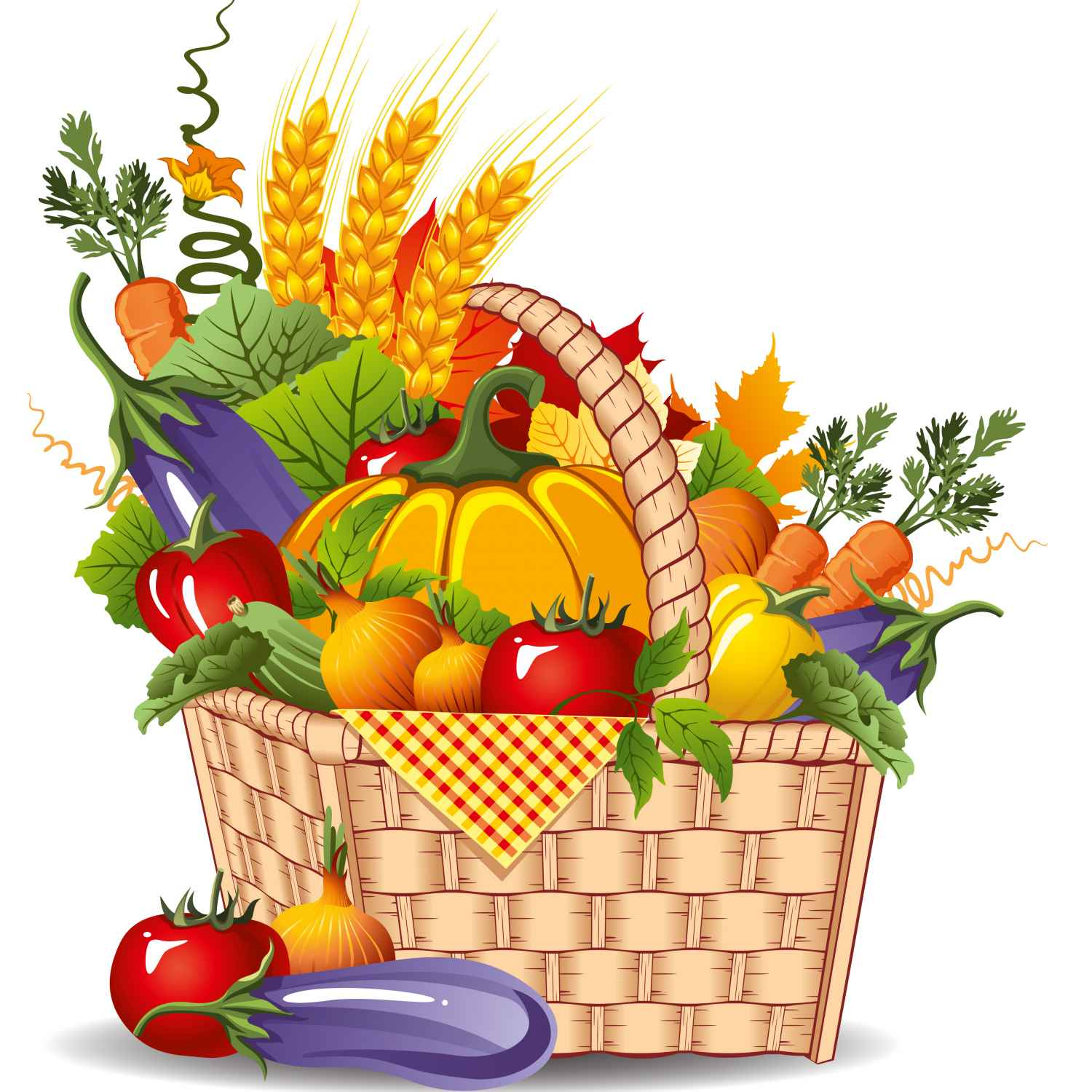 1500x1500 Harvest Basket Clip Art, Vegetable Basket Clip Art