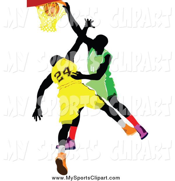 600x620 Sports Clip Art Of Basketball Player Opponents, One Making A Slam