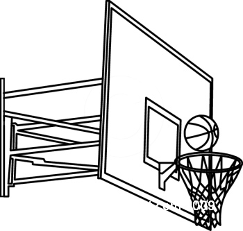 350x333 Basketball Hoop Clipart Black And White
