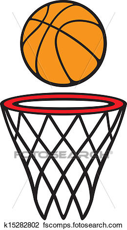 260x470 Clipart of basketball hoop and ball k15282802