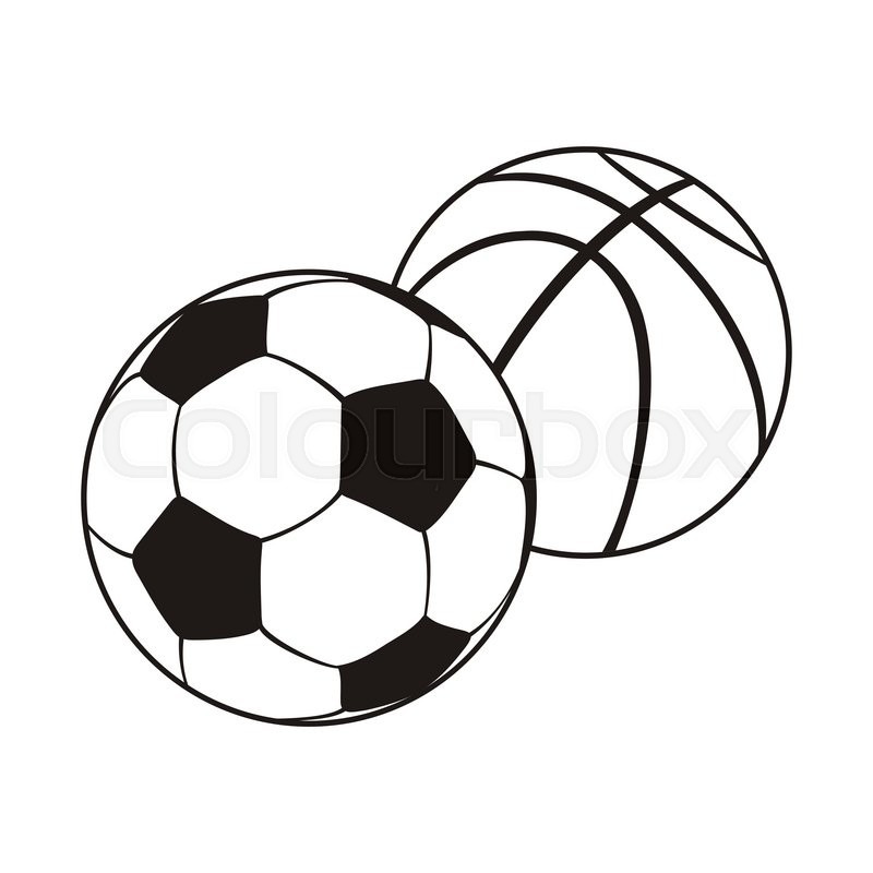 800x800 Monochrome set ball for football and basketball. Black white
