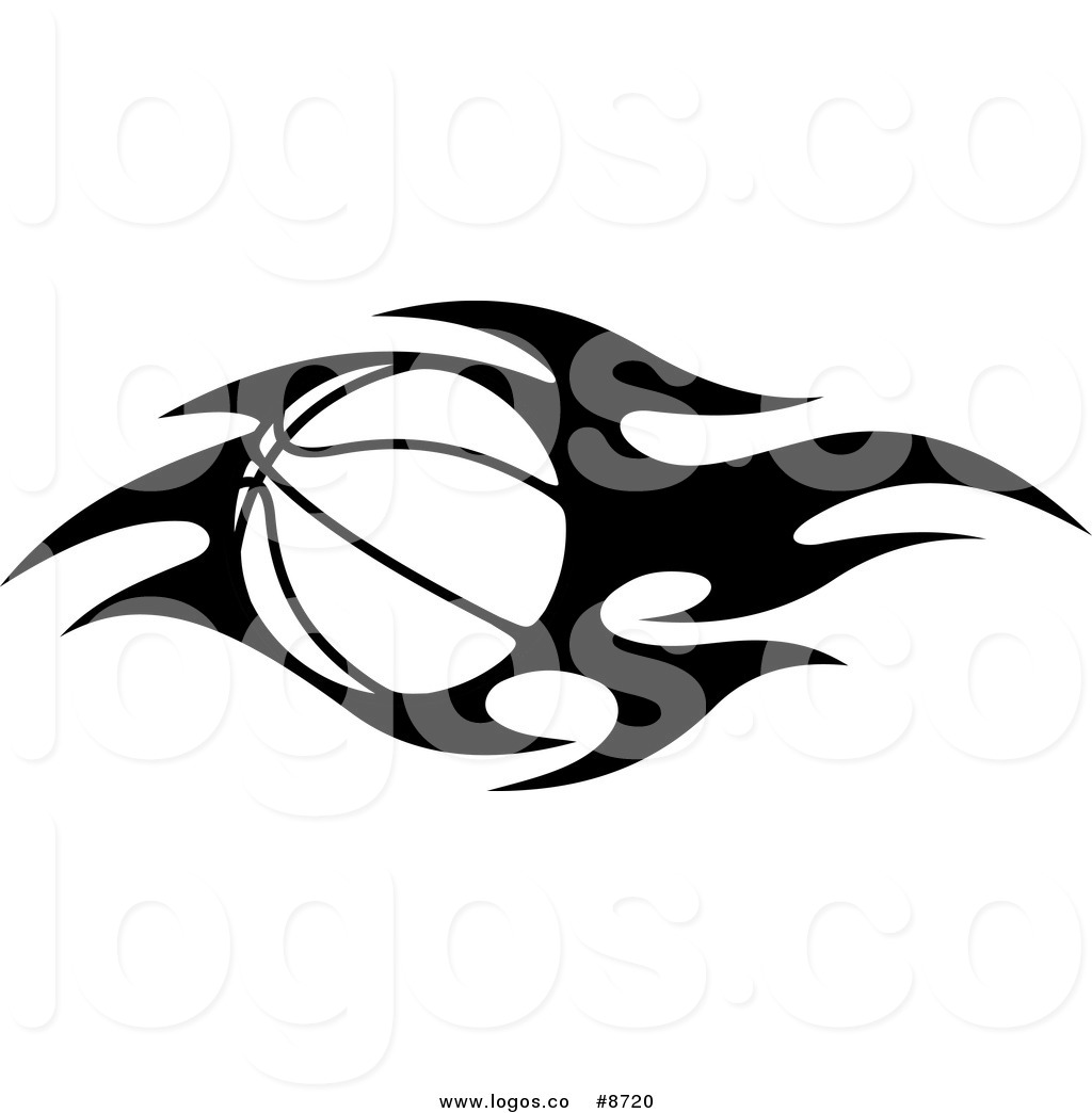 1024x1044 Royalty Free Clip Art Vector Black and White Flaming Basketball