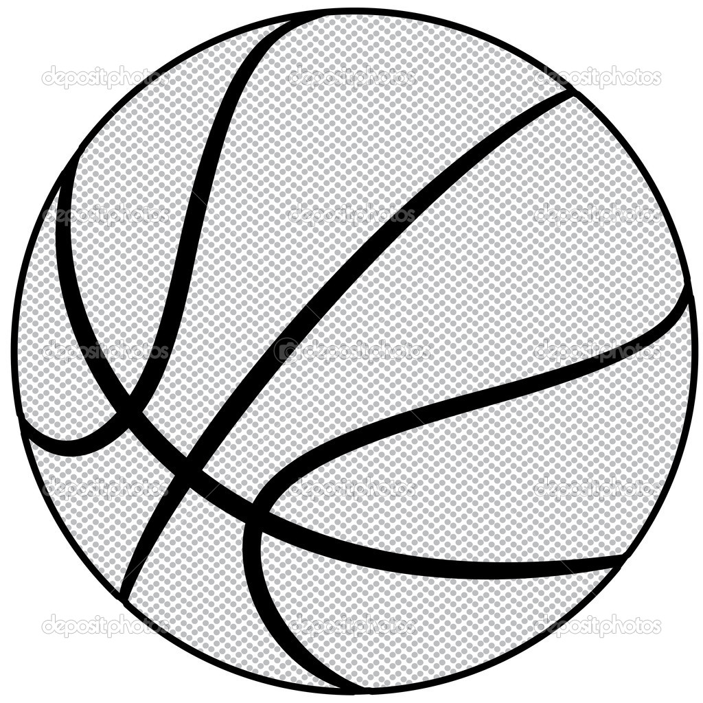 1024x1024 Basketball Black And White Abstract Clipart