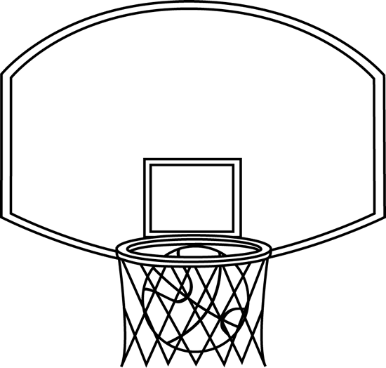 550x524 Black And White Basketball Backboard And Ball Clip Art