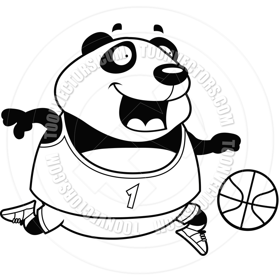 940x940 Cartoon Panda Basketball (Black And White Line Art) By Cory Thoman