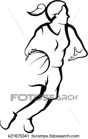 299x470 Clipart Of Basketball Female Drive To Basket K21675341