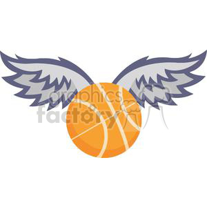 300x300 Royalty Free Basketball With Wings 379667 Vector Clip Art Image