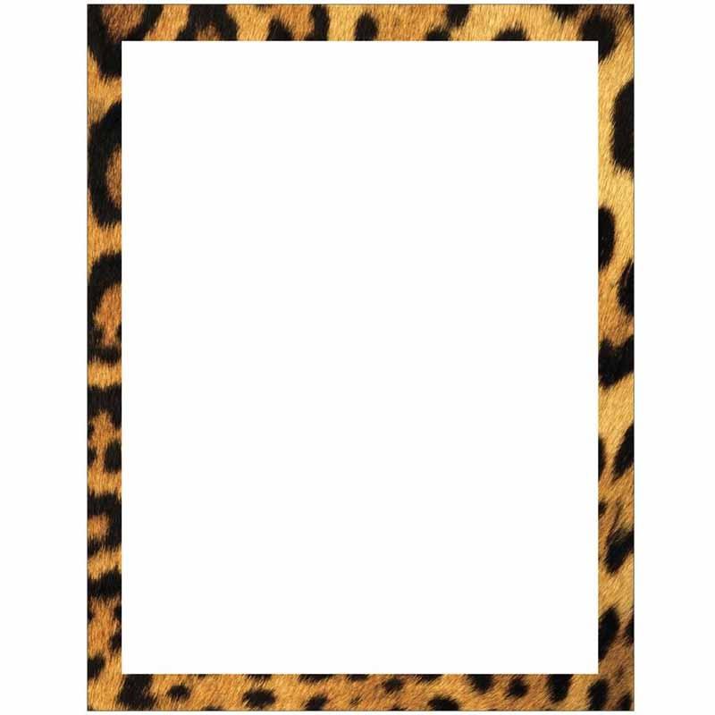 800x800 Leopard Print Border Stationery Letter Paper