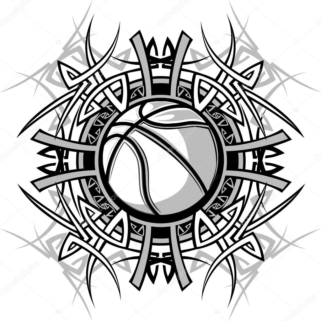1023x1023 Basketball with Tribal Borders Vector Graphic Image — Stock Vector