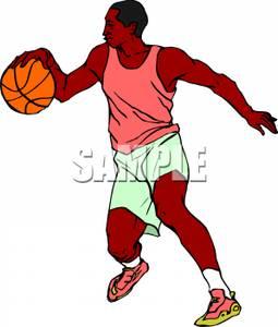 255x300 Black Man Playing Basketball Clip Art Image