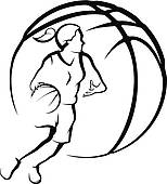 154x170 Clipart Of Basketball Female Drive To Basket K21675341