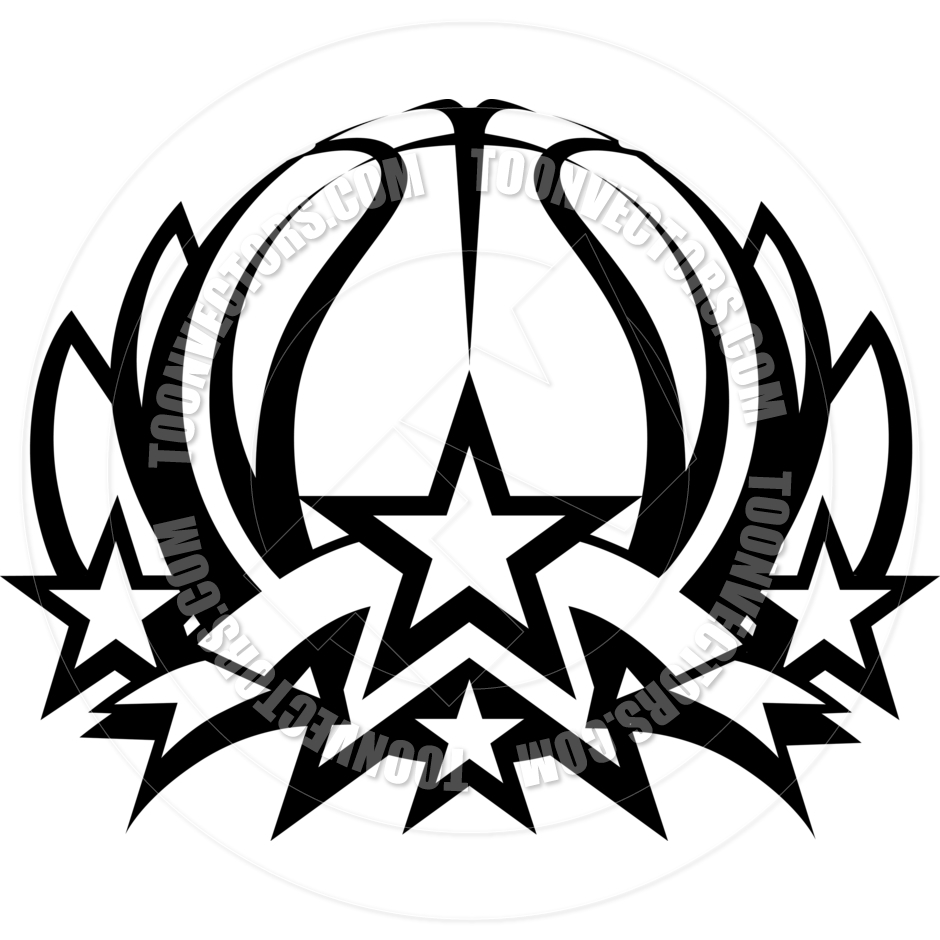 940x940 Basketball Vector Graphic Template With Stars By Chromaco Toon