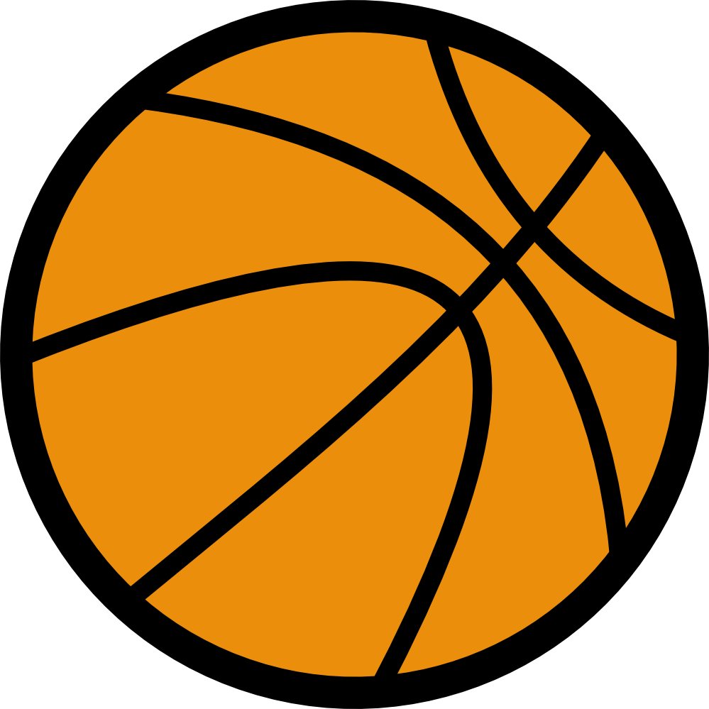 999x999 Black Amp White Clipart Basketball
