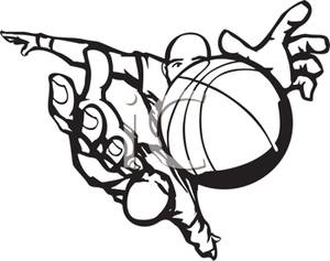 300x237 Black And White Cartoon Of A Basketball Player Grabbing The Ball