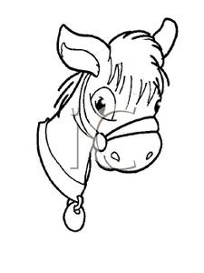 225x300 Black And White Pony Head Clip Art Image