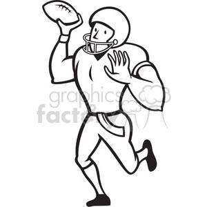 300x300 Royalty Free American Football Quarterback Pass Black White 389992
