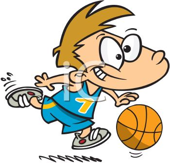 350x335 Royalty Free Clip Art Image Cartoon Of A Boy Playing Basketball