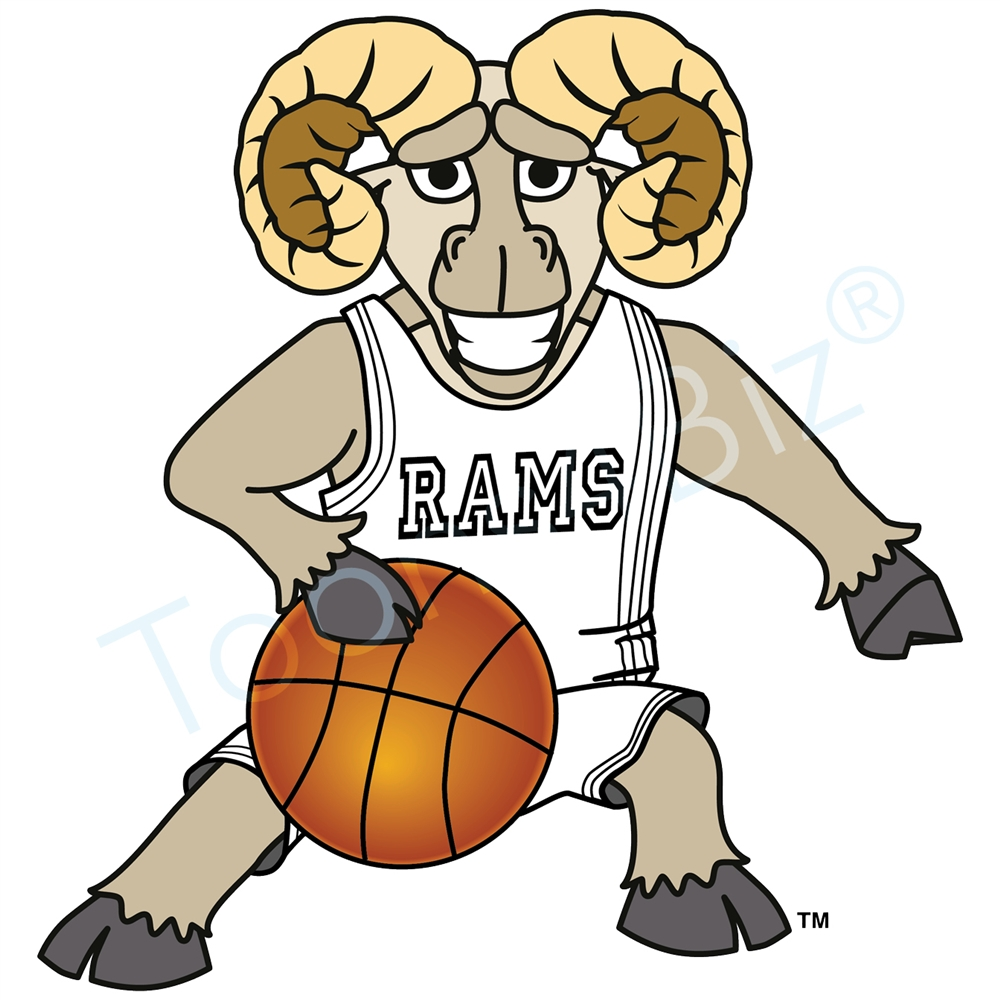 1000x1000 Ram Mascot Playing Basketball Clip Art Graphic