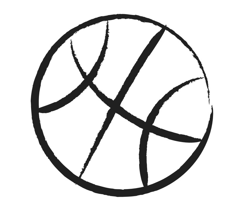 843x688 Basketball Clipart Black And White