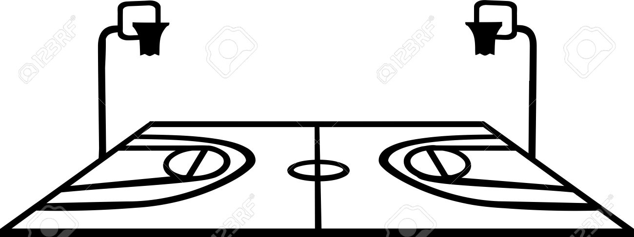 1300x487 Basketball Court With Perspective On White Background Royalty Free