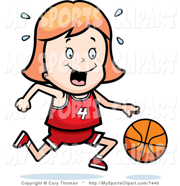 600x620 Sports Clip Art Of A Basketball Girl Dribbling A Basketball Down