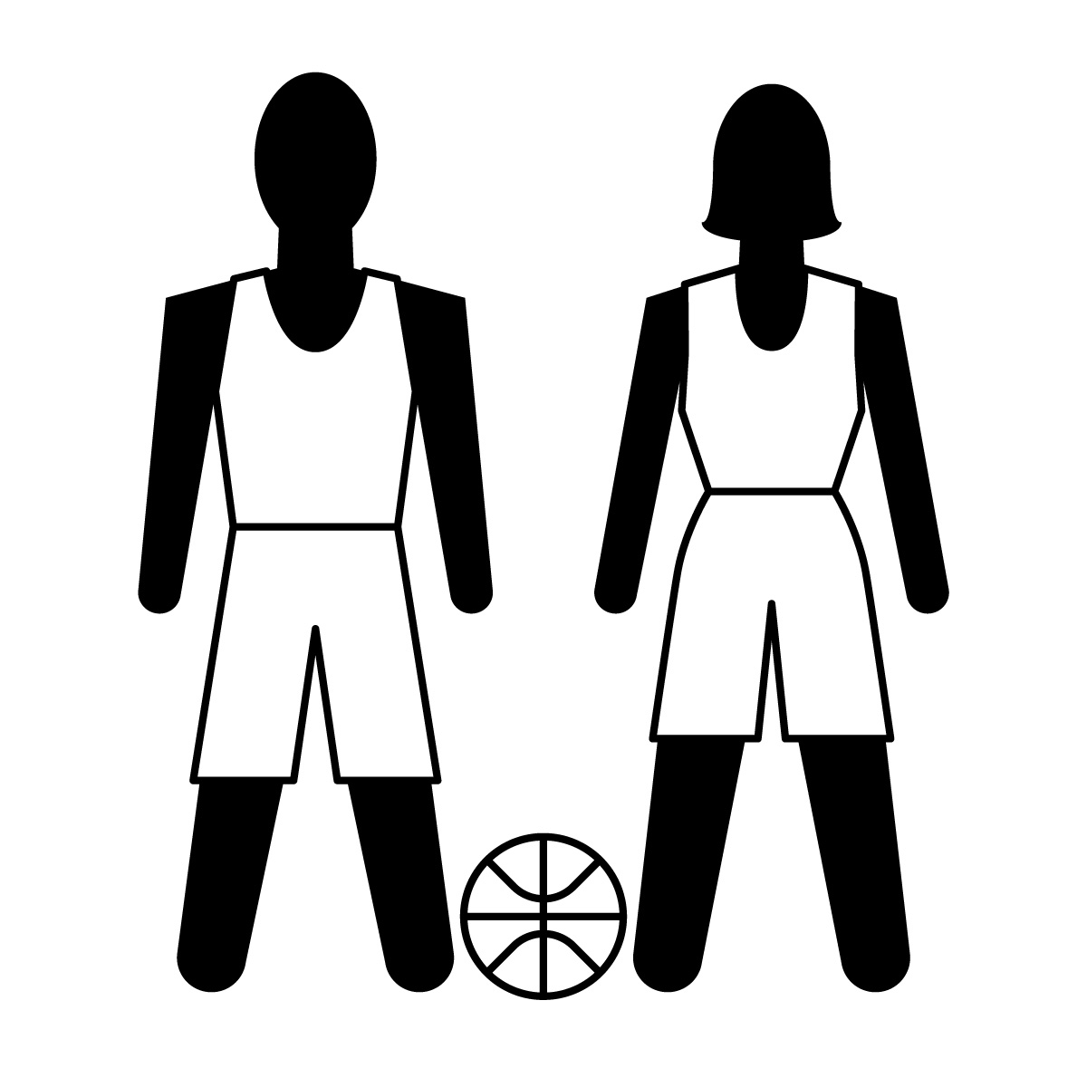 1200x1200 Black And White Basketball Clipart