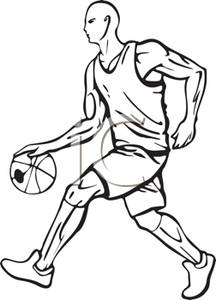 216x300 Black And White Cartoon Of A Basketball Player Dribbling The Ball